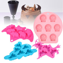 Witch Bat Ghost Skull Silicone Mold Flexible Fondant Cake Molds Cute Baking