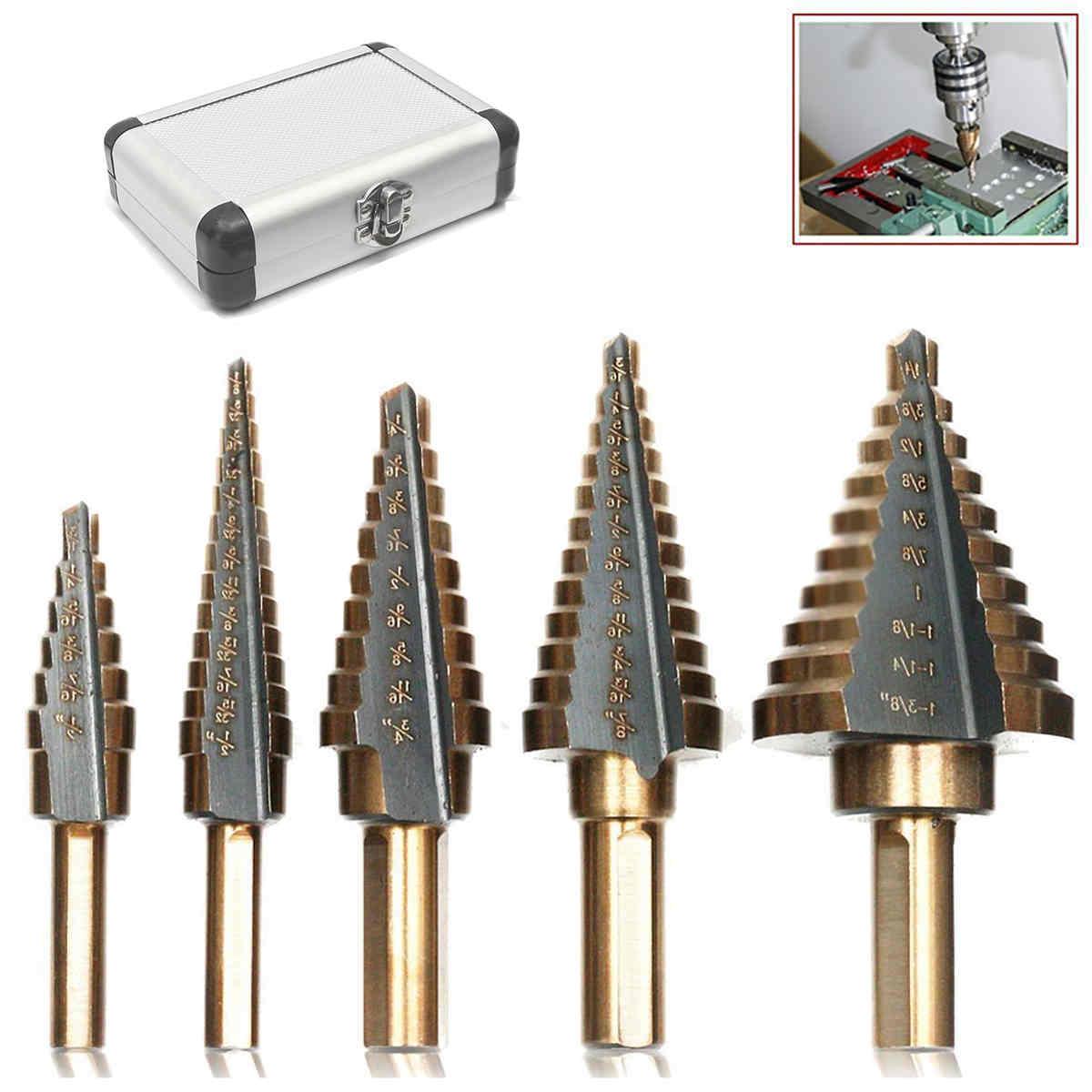 5pcs X HSS Large Cobalt Hole Titanium Cone Step Drill Bit Cutter Set Tools W/ Case