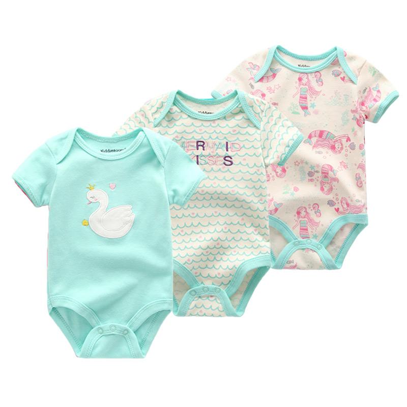 2021 3PCS/Lot Baby Girl Clothes Unicorn Girls Clothing Unisex 0 12M Baby Boy Clothes Short Sleeve Baby Bodysuits Roupas de bebe