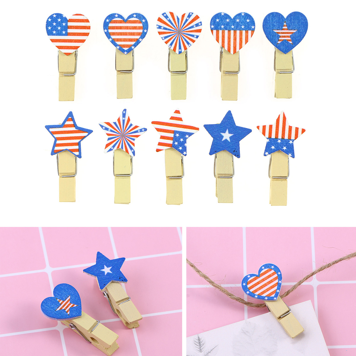 10pcs American Flag Patriotic Photo Clip Card Memo Note Message Craft Decoration