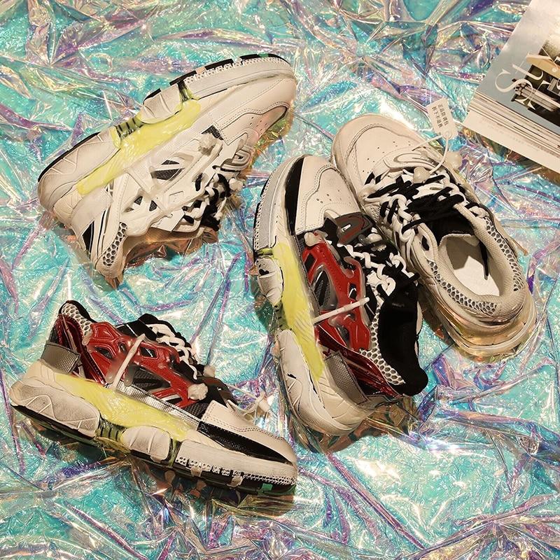 Véritable Femmes Pic De Mode En Chaussures Souper Ins forme Vieux Style Cuir Pour Sneaker Blanc 2019 as Pic Noir Chunky Plate Formateurs As 0TxdxqwR