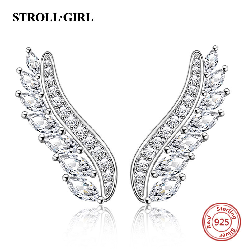 New arrival 925 sterling silver earrings with CZ authentic high quality feather stud diy fashion jewelry making for women gift