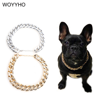 Silvery/Golden Pet Dog Collar Teddy French Bulldog Snake Chain Funny Small Cat Necklace