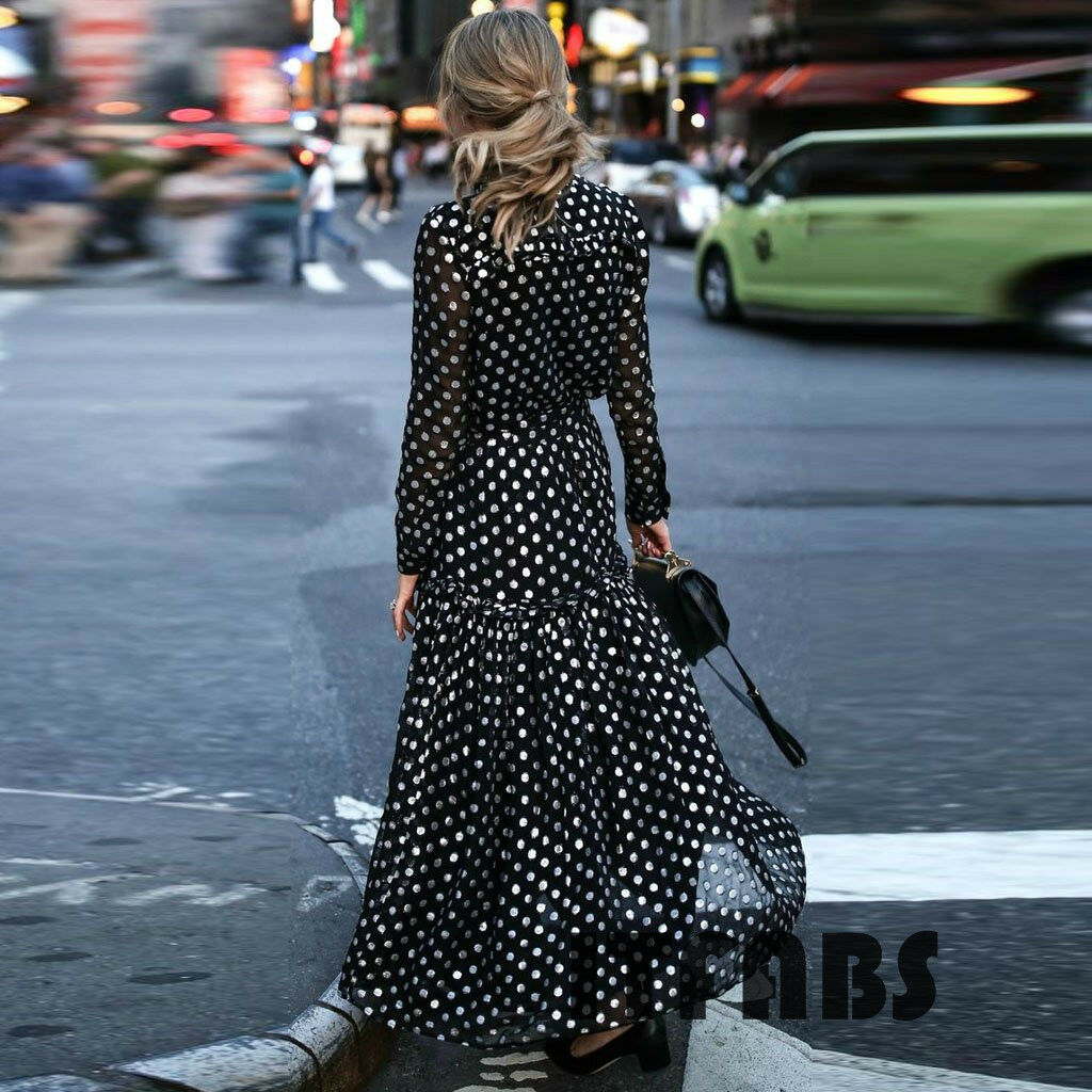Newest Street Dresses Women Long Polka Dot Printed Maxi Dress V-neck Cocktail Party Shirt Dresses