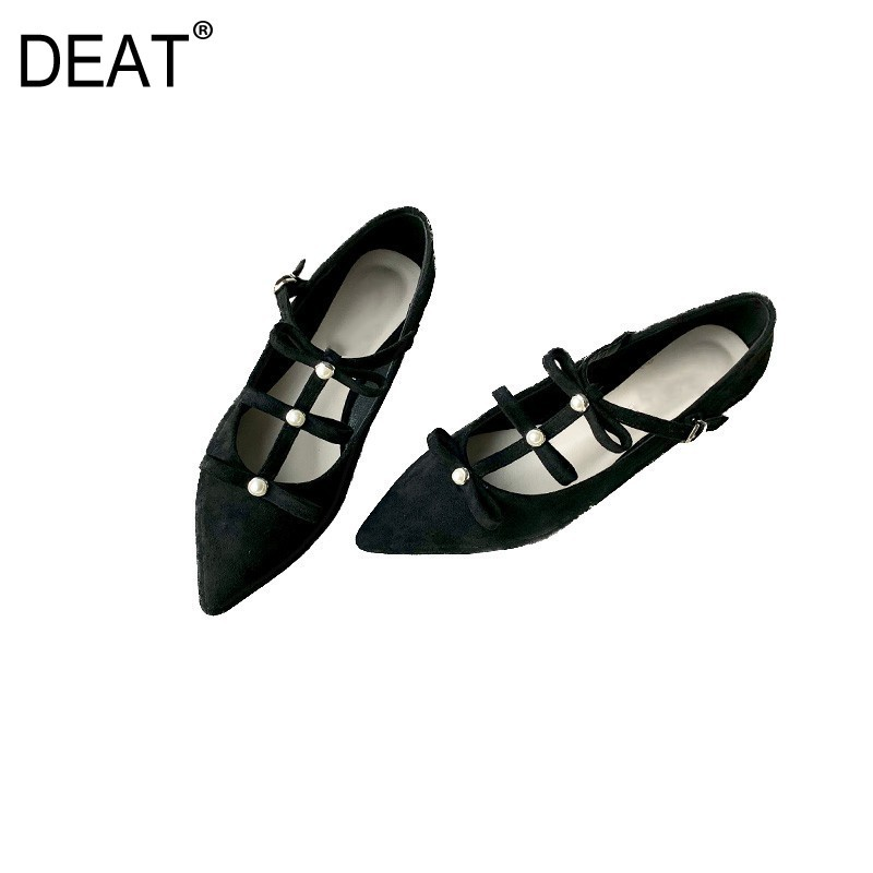 DEAT 2019 New Spring Summer Sharp Toe Shallow Flock Buckle Strap Hollow Out Beads Single