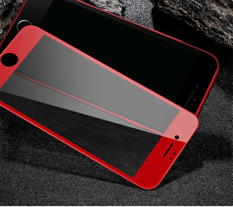 For Iphone 8 7plus 3d Soft Edge Full Cover Red Rose Gold Glossy Carbon Fiber Tempered Glass Screen Protector Film For Iphone 6s