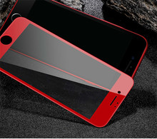 For Iphone 8 7plus 3d Soft Edge Full Cover Red rose gold Glossy Carbon Fiber Tempered Glass Screen Protector Film 6s