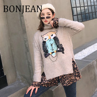 BONJEAN Fake Two Pieces Sweaters 2019 Owl Pattern Sweaters and Pullovers Gray Knitted Sweaters for Women Loose Spring Tops BJ827