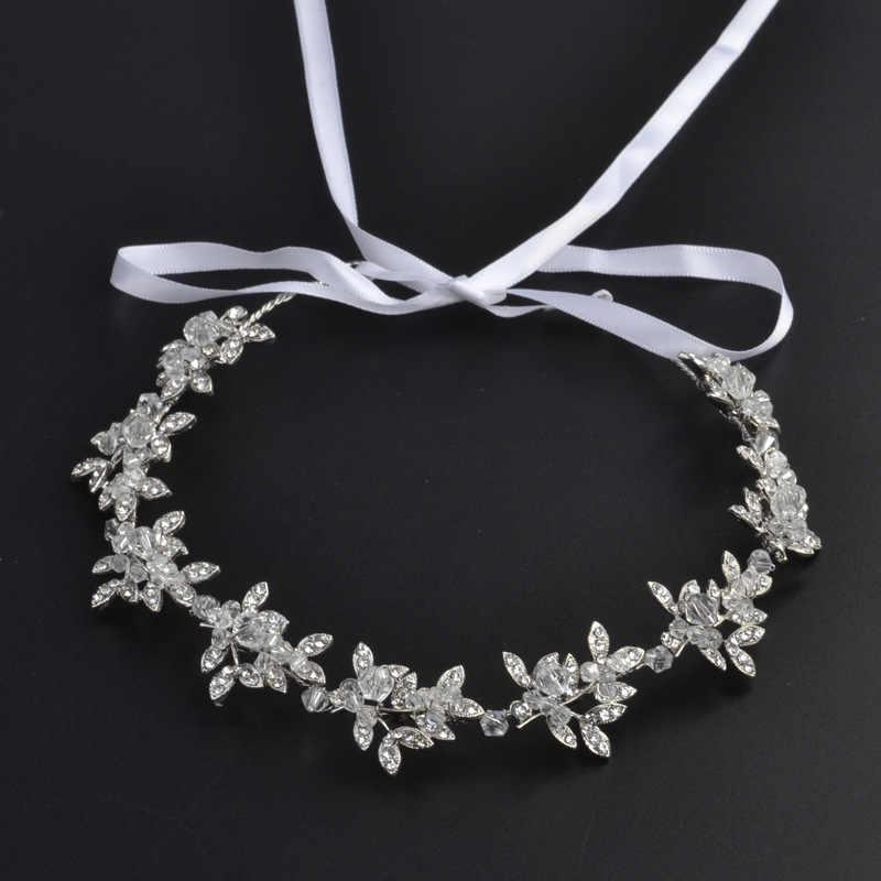 Hair Jewelry Wedding Silver Headband Bridal Hair Accessories Women Ornaments Metal Rhinestone Crystal Headband Bride Head Band
