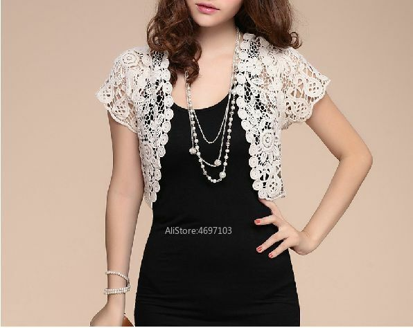 Image 3 - White Black Apricot Women Short Sleeve Shrug Bolero Lace Wedding Bridal Summer Jacket Elegant Cape-in Wedding Jackets / Wrap from Weddings & Events