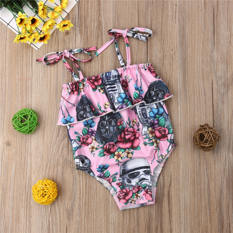 Summer Kids Baby Girls clothes off shoulder Floral print Ruffle strap Bodysuit sleeveless Toddler cotton newborn Tops one pieces