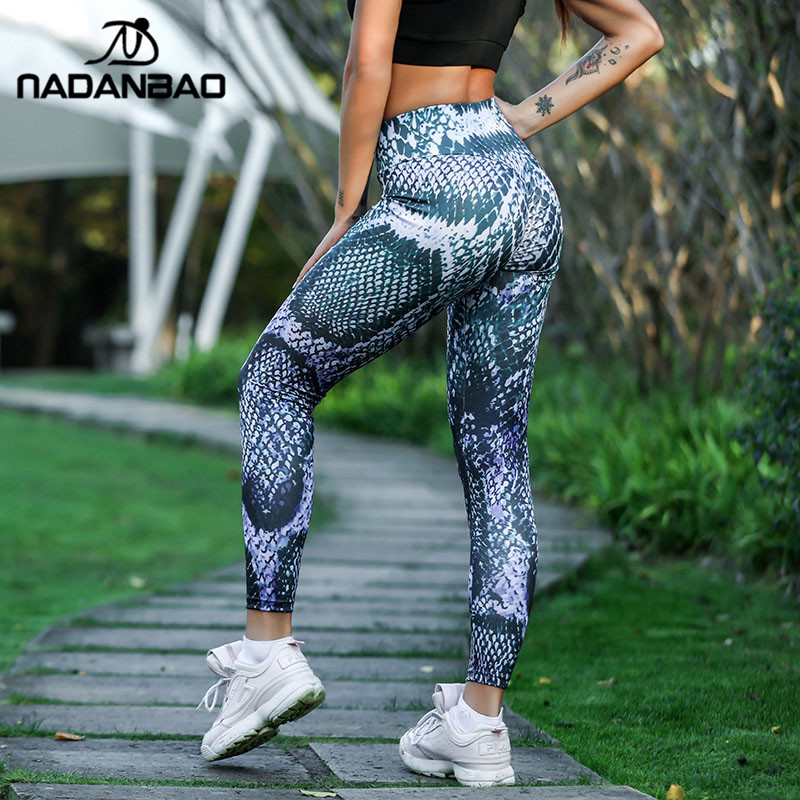 NADANBAO Sexy Push Up Snake Print Leggings Women Fitness Legging Sporting High Waist Workout Leggin Plus Size Pants
