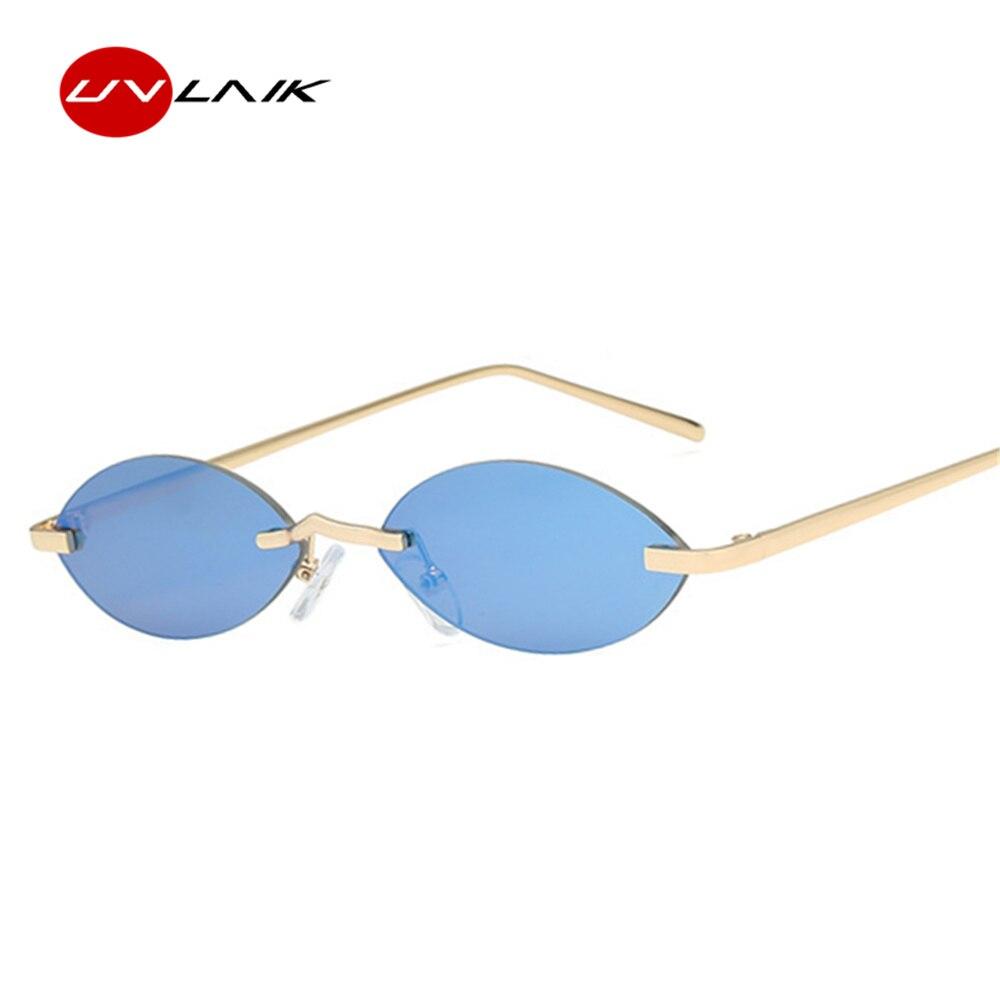 e77db56616da9 UVLAIK Small Oval Sunglasses Men Women Cat Eye Luxury Brand Designer Vintage  Retro Skinny 90S Cateye Rimless Sun Glasses Shades