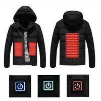 2018 для мужчин зимние уличные USB инфракрасного нагрева куртка с капюшоном Электрический термальность Костюмы Пальто для спортивн