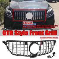 GTR GT R Style Car Front Grill Grille For Mercedes For Benz GLE For Coupe C292 W166 GLE350 GLE400 2016 2018 Chrome Silver