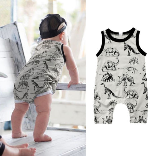 0-24M Newborn Baby Boys Girls Summer Dinosaur Romper Jumpsuit Sleeveless Outfits Clothes