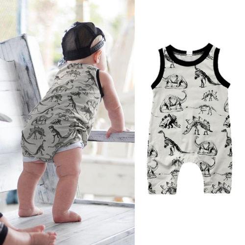 0-24M Newborn Baby Boys Girls Summer Dinosaur   Romper   Jumpsuit Sleeveless Outfits Clothes