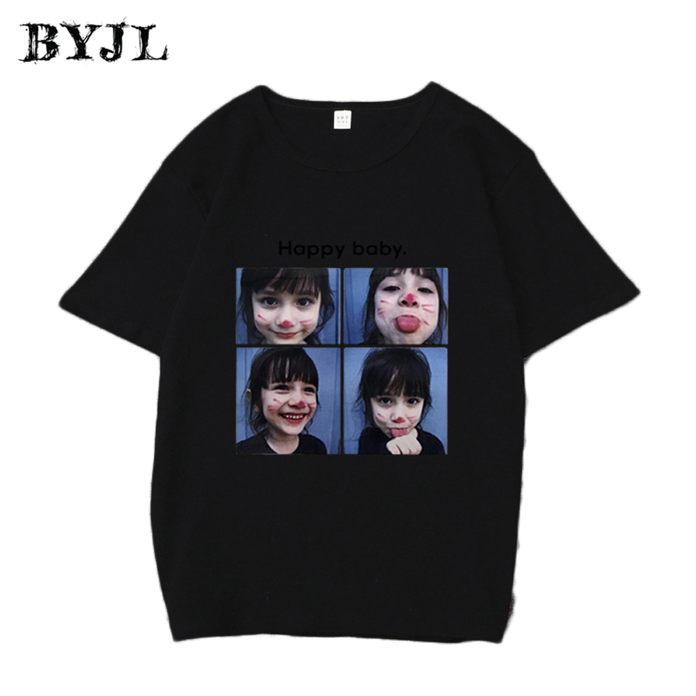 BJYL Cute Print T-shirt Woman Casual O Neck Short Sleeve Printed Polyester Fashion Korean Style Crop Top T Shirt NSZ028