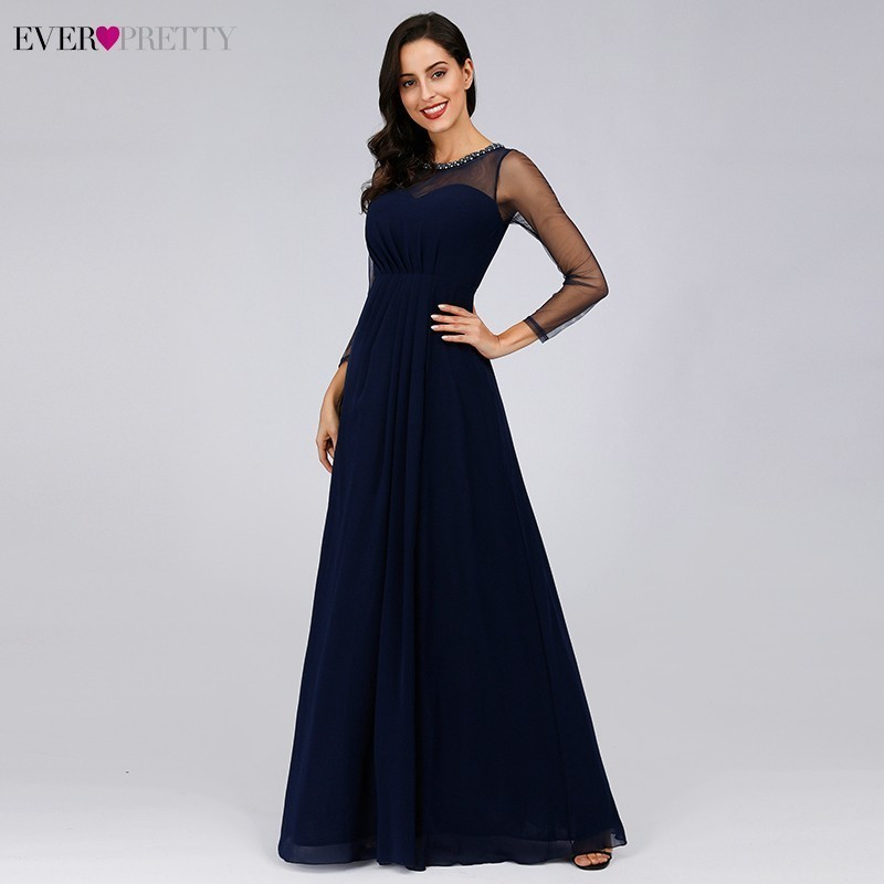 Navy Blue   Bridesmaid     Dresses   Long Ever Pretty A-Line Full Sleeve Sexy Formal Wedding Party   Dresses   Robe Demoiselle D'honneur