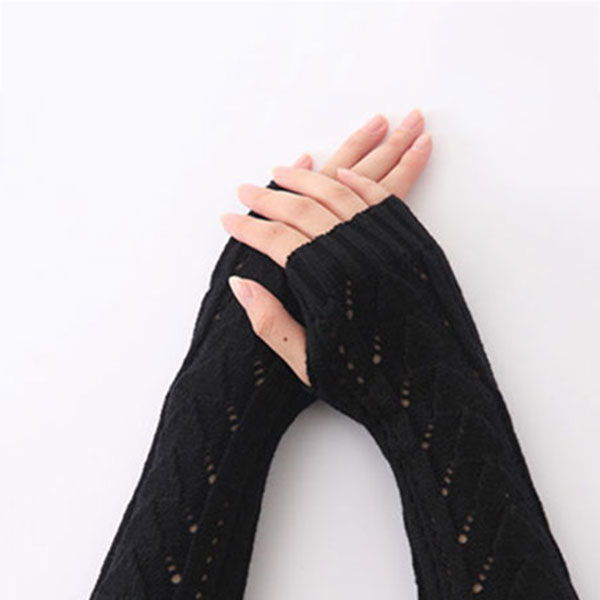 1Pair Women Winter Long Gloves Knitted Fingerless Gloves Half Hollow Arm Sleeves Guantes Mujer TC21
