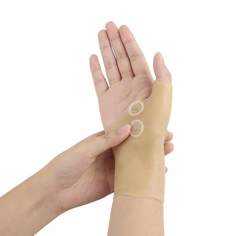 المغناطيسي المعصم يدعم اليد ضغط الإبهام مصحح قفازات اليد إصبع الألم تحديد قفاز التهاب المفاصل معصمه العلاج سيليكون