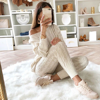 Womens Jumpsuit Knitted Top Long Pants 2PCS Set Outfits Bodycon Casual Playsuit