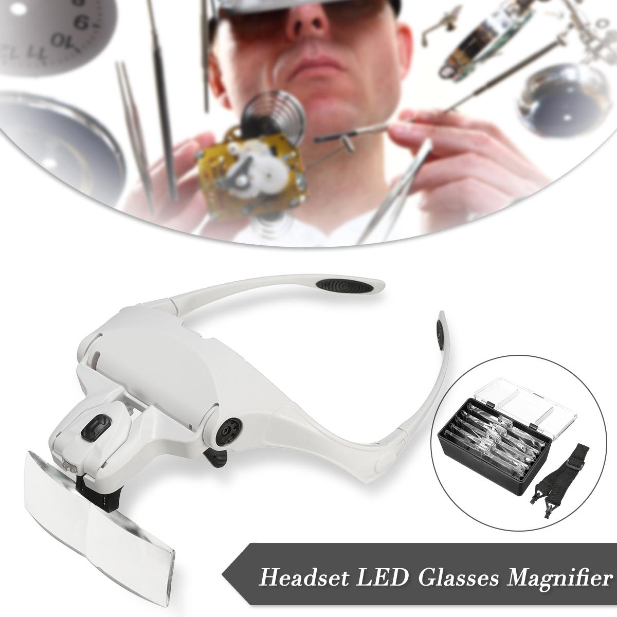 MG9892B1 Durable Quality ABS + Acrylic White Headband Headset Jeweler Magnifier Magnifying Glass Loupe Glasses With LED LightMG9892B1 Durable Quality ABS + Acrylic White Headband Headset Jeweler Magnifier Magnifying Glass Loupe Glasses With LED Light