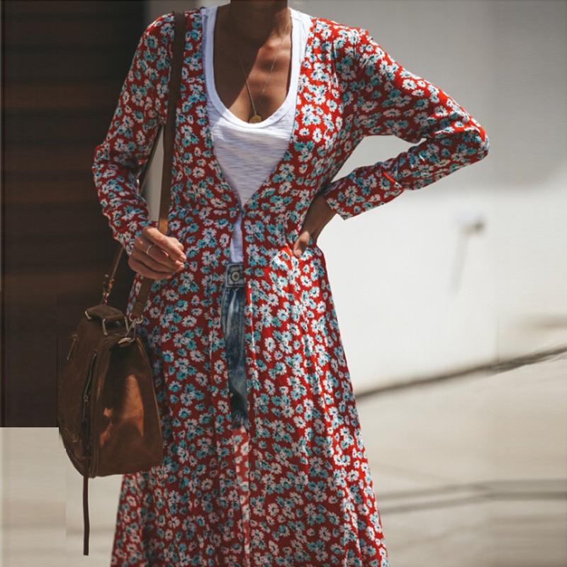 777c866790f847e Женское пляжное платье с цветочным принтом бохо, праздничное осеннее  свободное летнее шифоновое платье в горошек