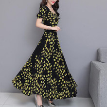 Summer Sliming Fashion Elegant Chiffon Boho Beach Dress Women Red Floral Print Slim O-Neck Work Big Swing Party Long Dresses(China)