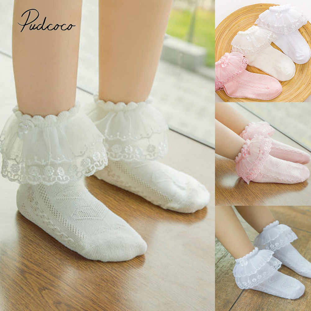 ¡Novedad de 2019! Calcetines hasta el tobillo con volantes y capas de encaje para niñas pequeñas, calcetines cortos de algodón con tutú de princesa, 1 par de calcetines para niños
