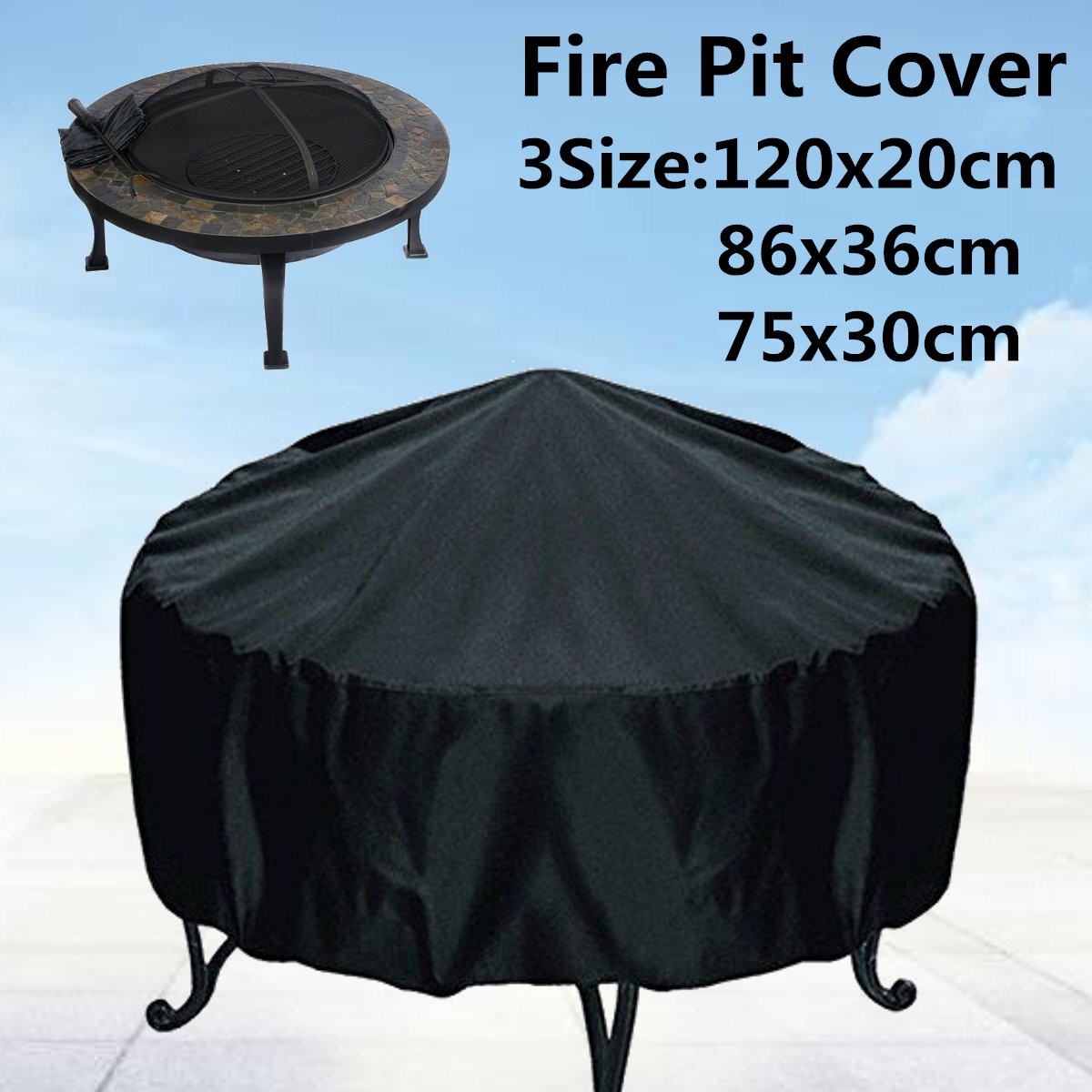 3 Sizes Waterproof Patio Fire Pit Cover Black UV Protector Grill BBQ Shelter Outdoor Garden Yard Round Canopy Furniture Covers