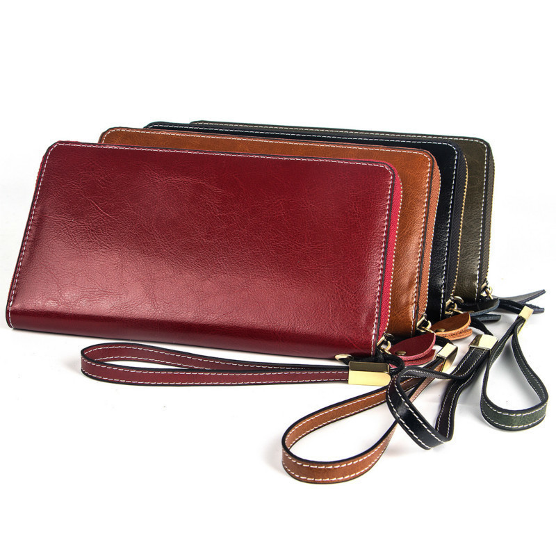 New Big Women Wallet Genuine Leather Female Wallet Long Card Holders Coin Purse Zipper Clutch Bags High Capacity Purse For Women