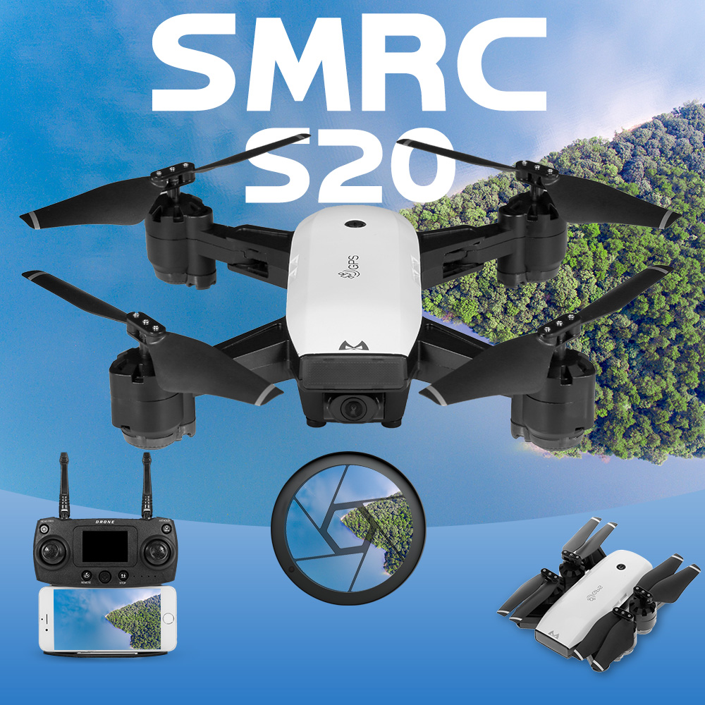 SMRC RC Drone S20 720P 1080P WiFi FPV Wide-angle Camera GPS Follow Me Altitude Hold Foldable Quadcopter Toys for Children
