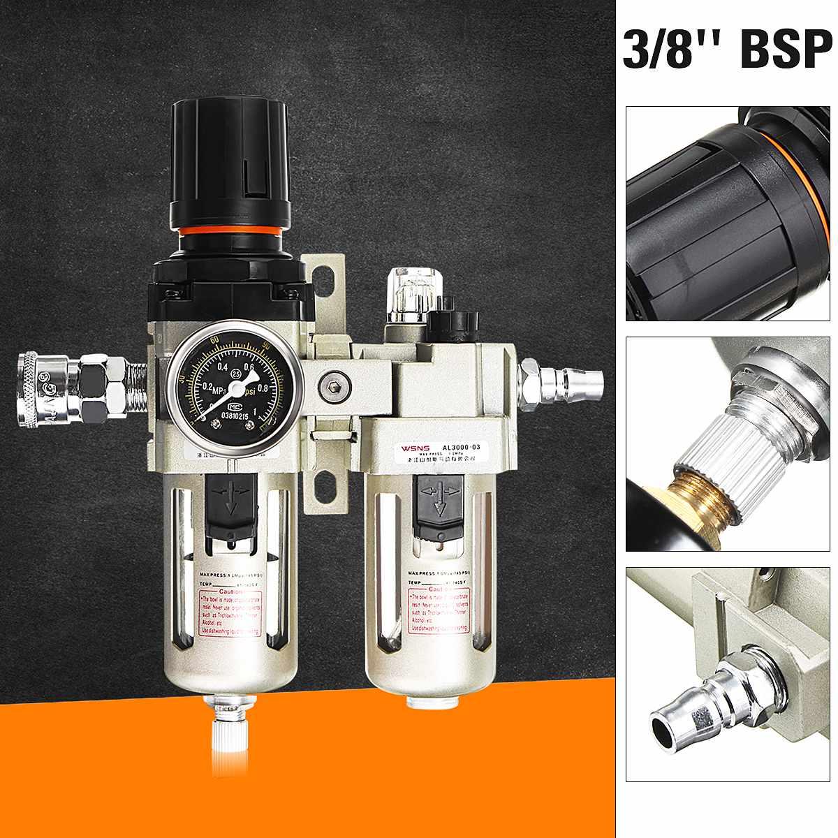 3/8 compresseur d'air lubrificateur d'huile humidité piège à eau filtre régulateur jauge en alliage d'aluminium pièces pneumatiques matériel mécanique