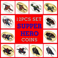 12pcs Set Avengers Endgame Marvel Super Hero Coins with Coin Album Gold Plated Collection Iron Man Spider Man Hulk Batman Gifts