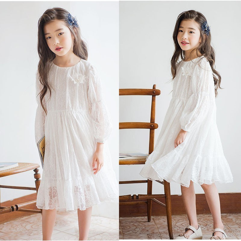 Teenage Girl Party Dress Girl Long Sleeve White Kids Baby Girl Lace Princess Dress Ruffles Spring Fall 2019 Toddler Kid Clothes