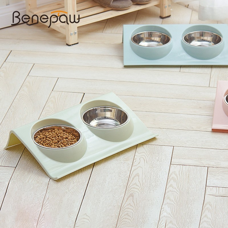 Benepaw No Spill Stainless Steel Double Dog Bowl Nontoxic High Station Removable Food Water Bowl For Dogs Pet Feed Drinking image
