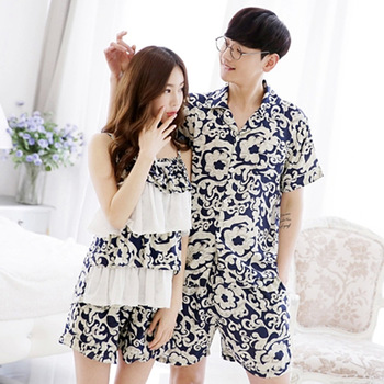2019 Women Summer Lovers Couple Sleepwear Cotton Character Pijama Men Shorts Women's Lounge Couple Pajama Set Plus Size Pajama Sets