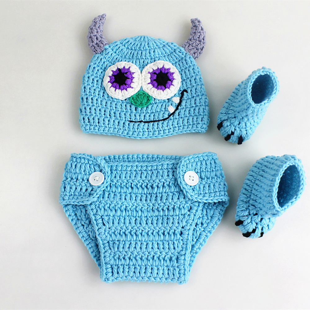 Newborn Photography PropsBaby Clothes Photography Monsters Shape Knitted Hat+Pants+Shoes Set Baby Photo Props Shoot Accessories