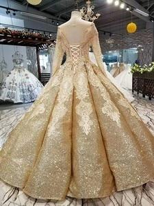 Image 5 - Женское свадебное платье SSYFashion, роскошное золотистое платье с длинными рукавами и вышивкой из блесток, блестящее платье для выпускного вечера