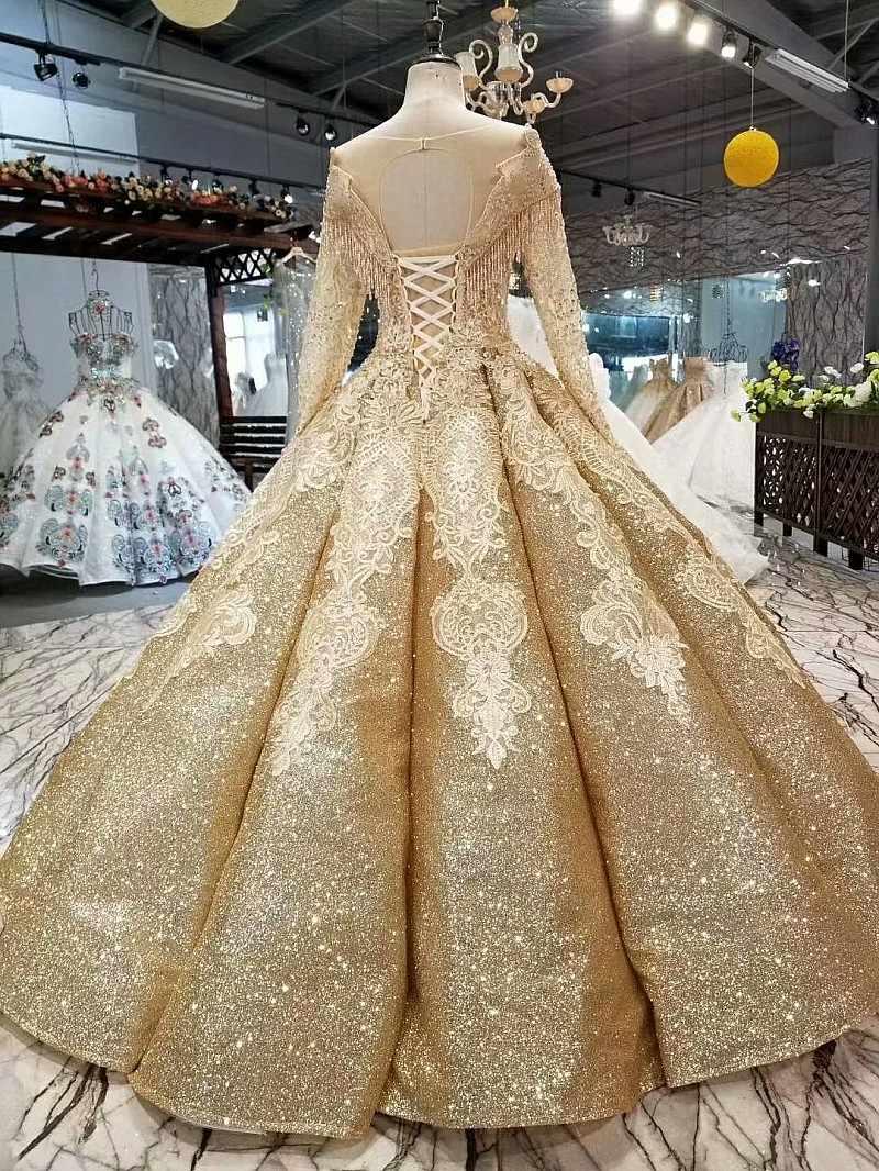 SSYFashion новый роскошный золотой свадебное платье высокого класса Дубай Свадебные Длинные рукава Кружева Вышивка пайетками Сияющий Пром вечерние платье