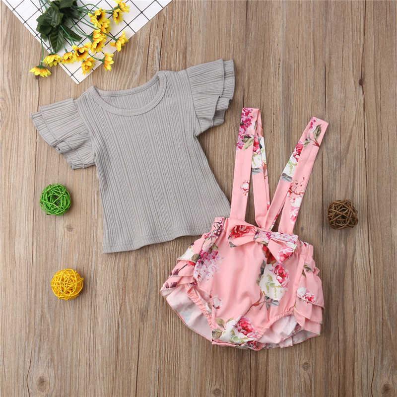 Розовая одежда с цветочным принтом для девочек, платье для малышей и комбинезон для младенцев, топы + шорты на лямках, одежда для маленьких девочек, летний комплект для девочек