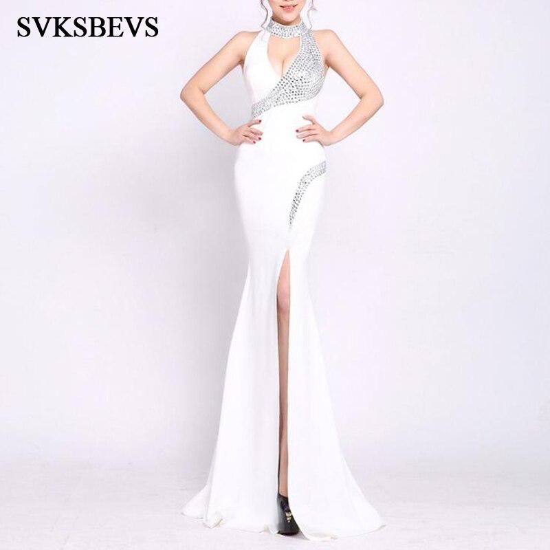 SVKSBEVS luxe cristal licou Sexy Split sirène robes longues élégant fête hors de l'épaule fermeture éclair dos Maxi robe