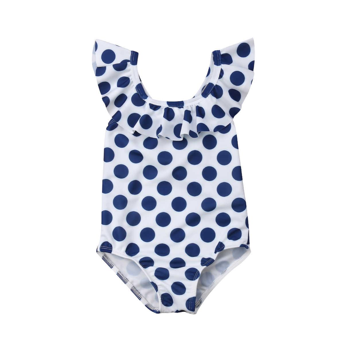 Polka Dot maluch dzieci dziewczynka bez rękawów peleryna kołnierz pływanie stroje kąpielowe kostium kąpielowy strój kąpielowy strój kąpielowy kostium