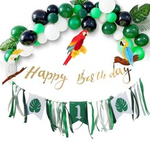 47pcs Jungle Party First Birthday Boy Girl Decorations With Balloons Hanging Banners Summer 1st