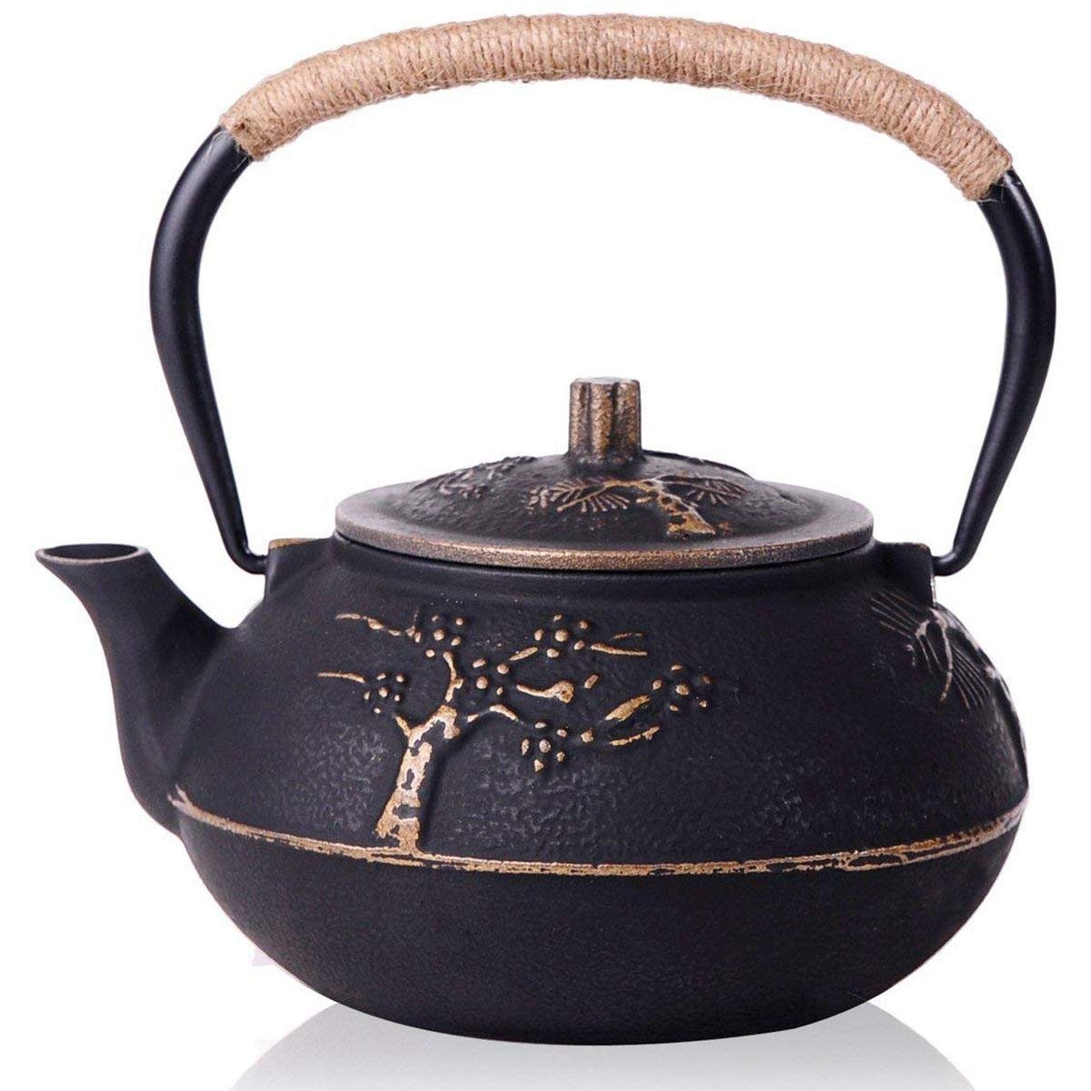 Japanese Cast Iron Teapot Kettle with Stainless Steel Infuser / Strainer , Plum Blossom 30 Ounce ( 900 ml )Japanese Cast Iron Teapot Kettle with Stainless Steel Infuser / Strainer , Plum Blossom 30 Ounce ( 900 ml )