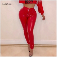 Autumn Winter Warm Women PU Patent Leather Skinny Pants High Waist Sexy Package Hip PVC Bodycon Pencil Trousers NIGHT CLUB Wear