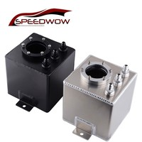 SPEEDWOW 2L High Quality Billet Aluminum Oil Fuel Surge Tank With Fittings Universal Auto Oil Can Catch Tank Black/Silver