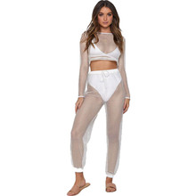 Sexy 2PS Womens Fish Net Crochet Hollow Out Sets Long sleeve Ctop Top Pants Sets Vogue See Through Suits Clubwear Beach holiday(China)
