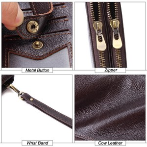 Image 5 - MISFITS Genuine Leather Men Wallet vintage Clutch Coin Purse Quality Zipper Long Walet Male Large Capacity Card Holder PORTFOLIO